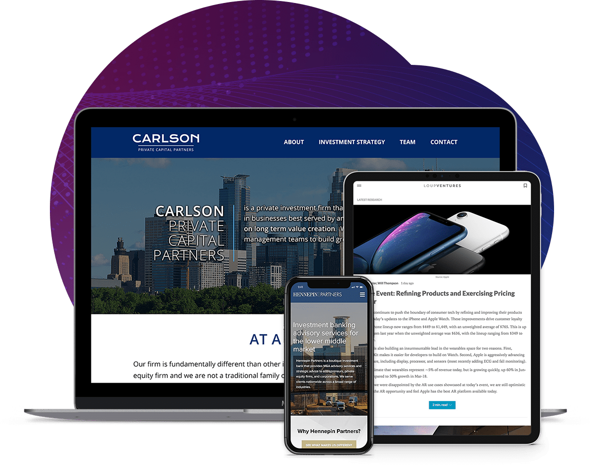 We build websites for investment banks that are in the low to middle market.