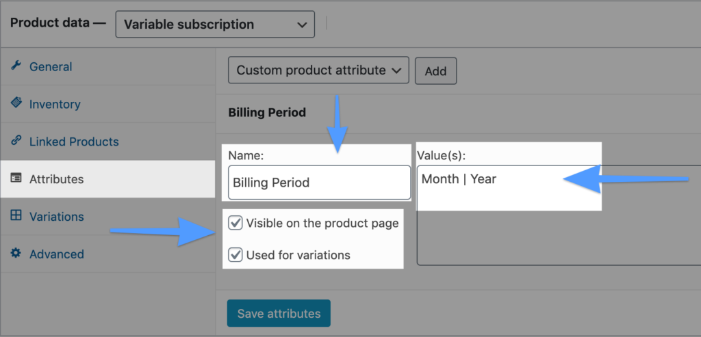 Variable-Subscription-Product-WooCommerce-dashboard-Products-Product-Data-Variable-Subscription-Attributes-Add-Billing-Period