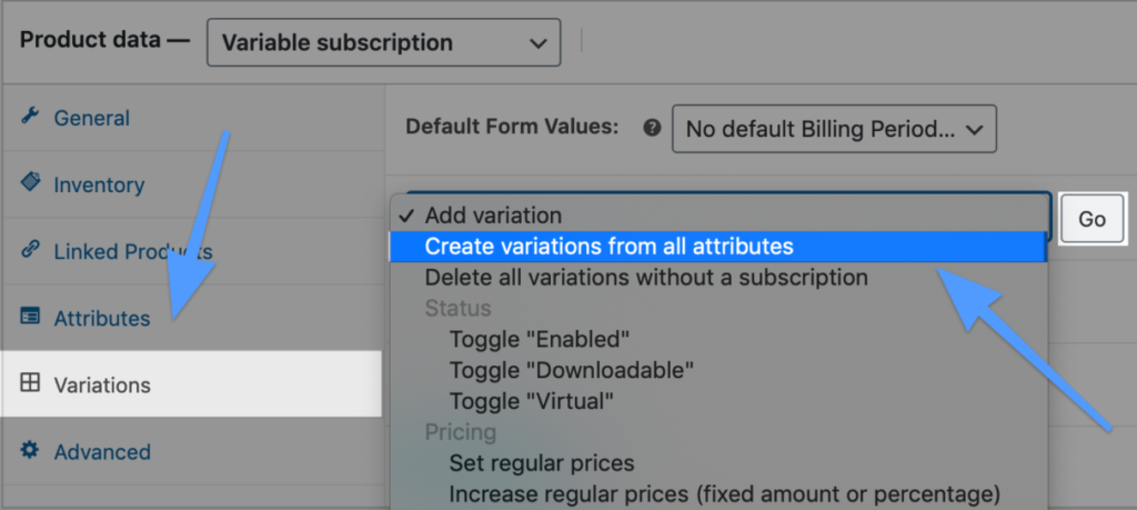 variable-subscription-product-wooCommerce-product-data-variations-create-products-from-all-attributes