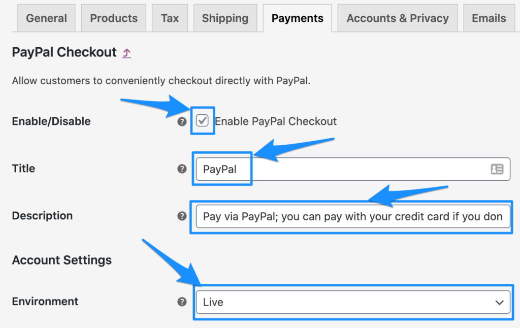 WooCommerce PayPal Checkout Account Settings