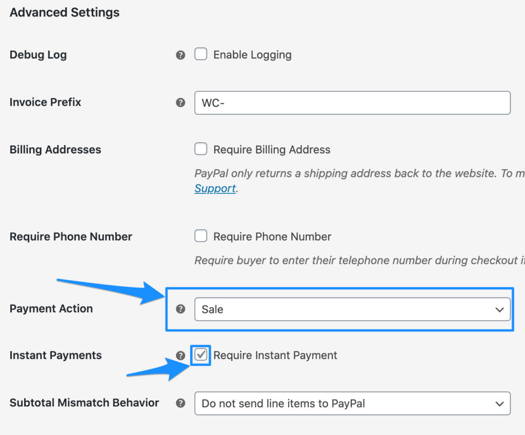 WooCommerce PayPal Checkout Advanced Settings