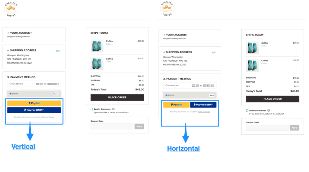 WooCommerce PayPal Checkout Button Settings Horizontal vs. Vertical