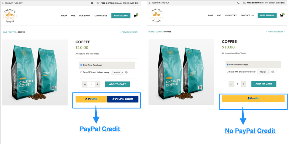 WooCommerce PayPal Product Page Button Settings Credit vs. No Credit