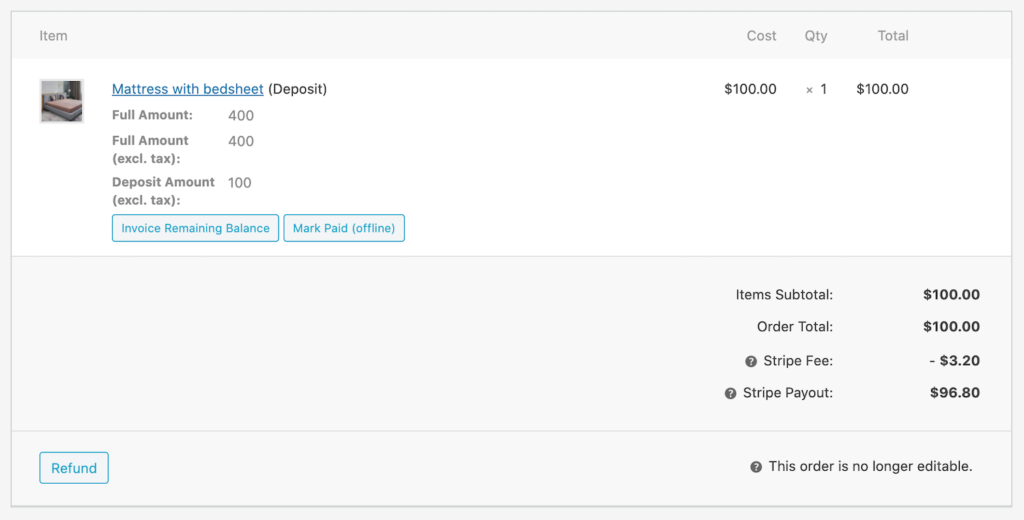 woocommerce orders with deposits